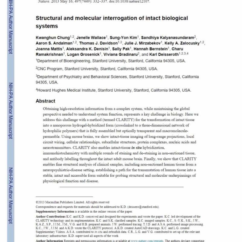 Structural and molecular interrogation of intact biologicalsystems clearlight