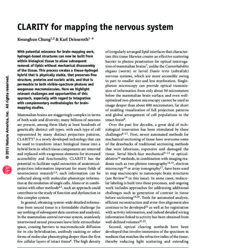 CLARITY for mapping the nervous system_Chung and Deisseroth, 2013