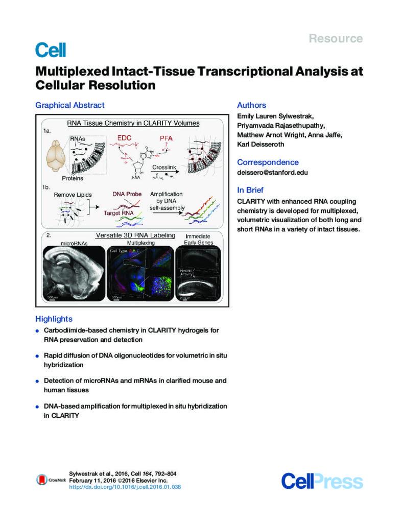 Multiplexed intact-tissue transcriptional analysis at cellular resolution_Sylwestrak_CellRes2016