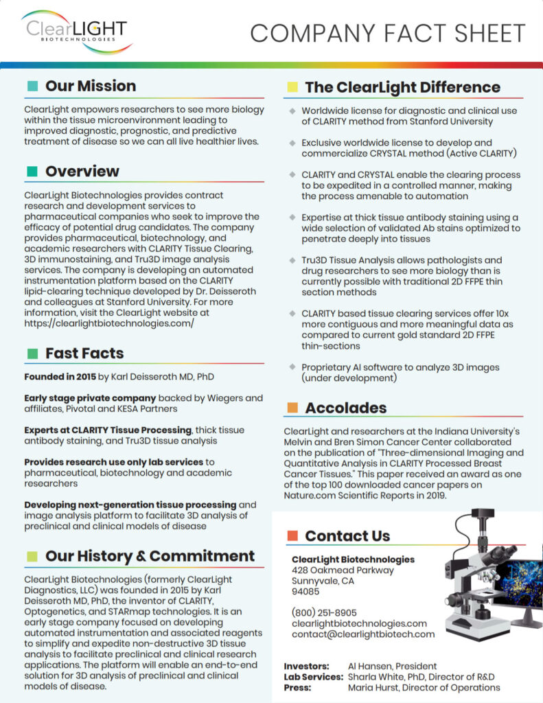 ClearLight Company Fact Sheet Thumb