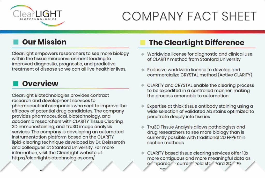 ClearLight Biotechnologies Company Fact Sheet Thumbnail