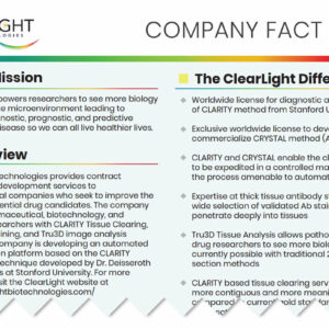 ClearLight Biotechnologies Company Fact Sheet - Press Resources